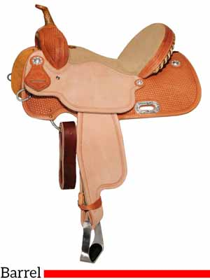 A Circle Y brand barrel racing saddle