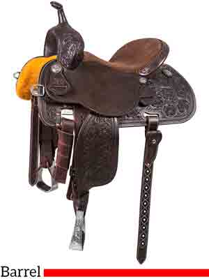 A Sherry Cervi Stingray 71C1 barrel saddle with Chocolate leather with Alpine flower tooling
