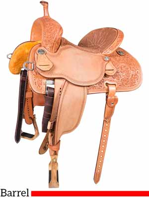 A Sherry Cervi Stingray 71C2 barrel saddle with floral conchos