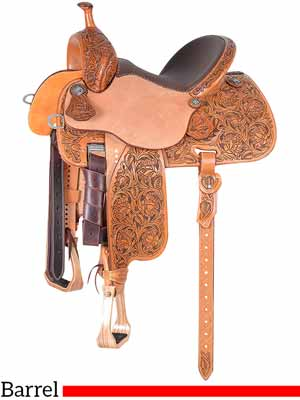 A Sherry Cervi Stingray 71C3 barrel saddle with rose tooling