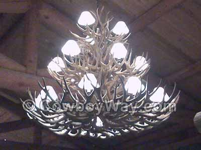 A very large antler chandelier