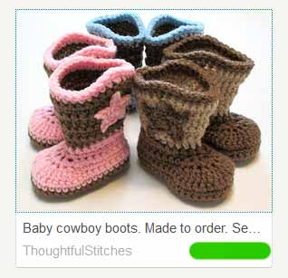 Crocheted cowboy boots for babies