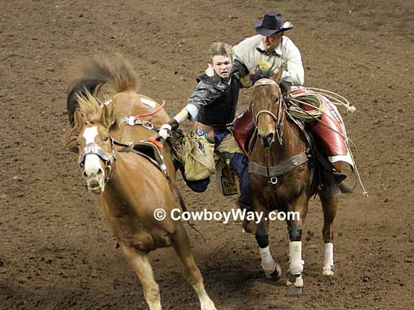 A young bareback bronc rider has trouble getting off his bronc