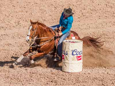 A covered barrel during the barrel racing event