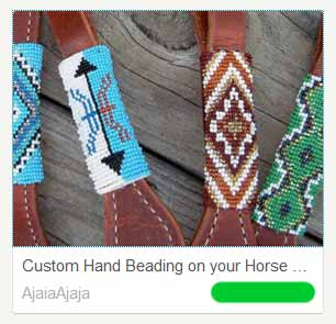 Beaded cheeks on a headstall