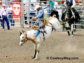 A bucking saddle bronc