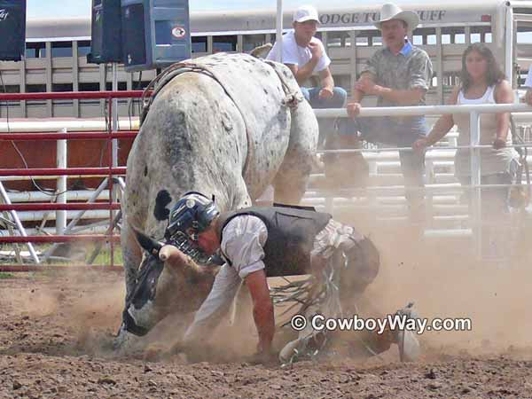A bull rider getting a horn in his helmet's face mask