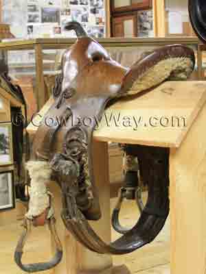 A center fire rigged saddle; not for roping