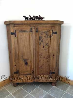 Awesome A Bathroom With A Rustic Corner Cabinet