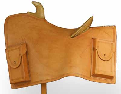 A mochila on a Western saddle, a type of early messenger bag