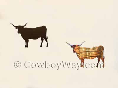Longhorn cow metal wall art