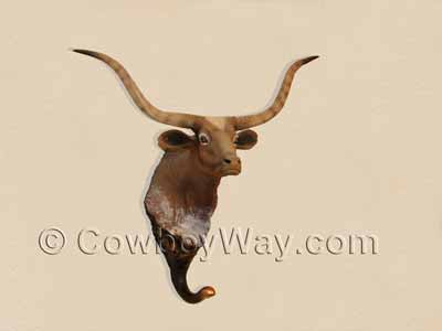 Longhorn cow towel rack