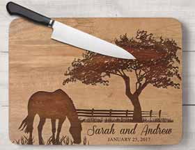 A wooden horse cutting board