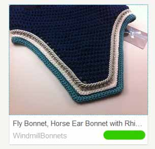 Custom horse ear bonnet with rhinestones or pearls