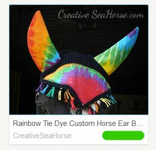 Tye dye custom horse ear bonnet