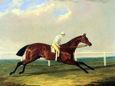 An 1800's painting showing a horse in the flying gallop