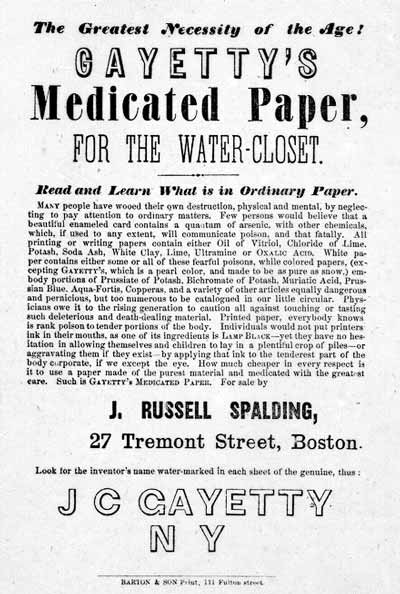 Advertisement for the first commercially produced toilet paper