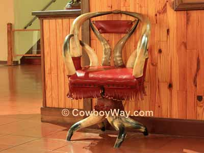 Horn chair with fringe