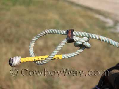 Tuck the tail of the rope through the loop so the horn knot won't slip off