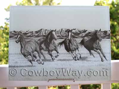 Cutting board with running horses