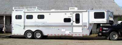 A 3-horse trailer with living quarters