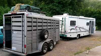 A horse trailer without living quarters