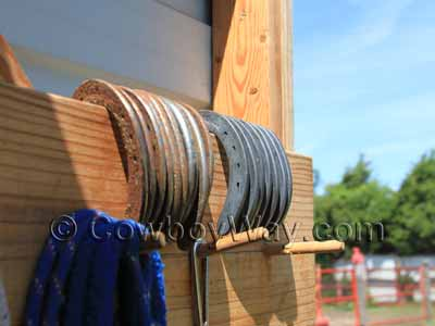 A collection of new and used horseshoes