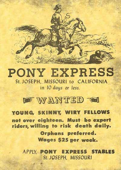 Pony express poster advertising for riders / messengers