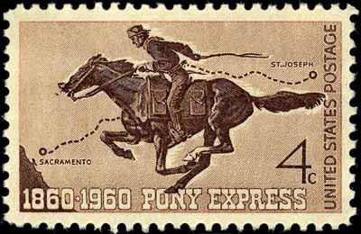 Commerative postage stamp showing a Pony Express rider with a mochila