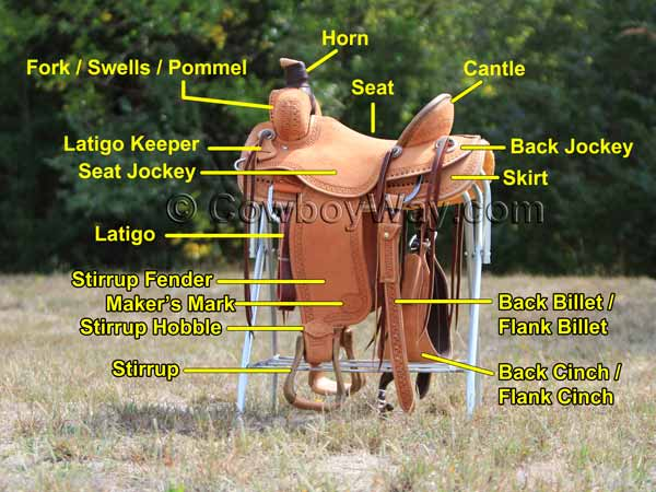 Labeled parts of a Western saddle