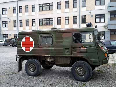 A type of Austrian military vehicle known as a Pinzgauer