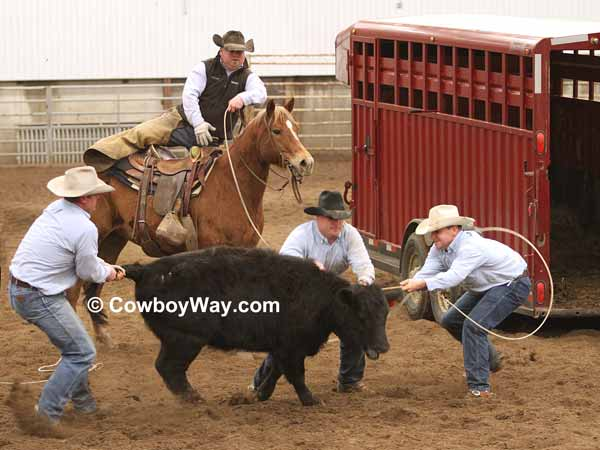 Four cowboys compete in the trailer loading at a ranch rodeo
