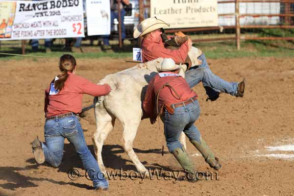 A cowboy gets lifted off the ground during a ranch rodeo