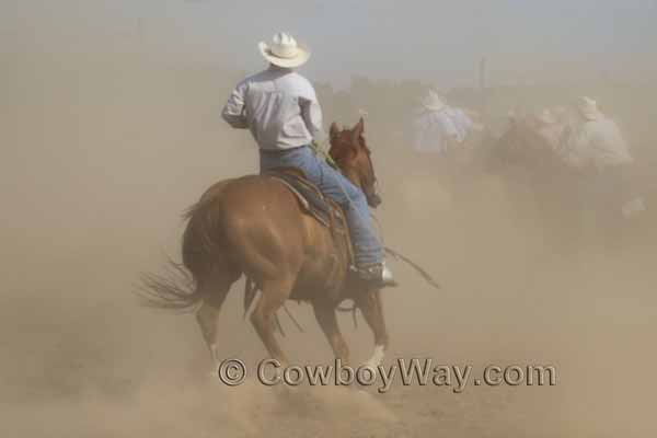 A cowboy rides into the dust