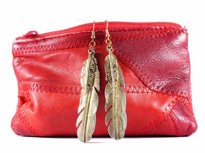 A red cowhide purse