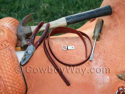 Tools for attaching a leather rope strap