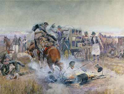 A painting by Charles Russell of a bronc bucking through a chuckwagon breakfast