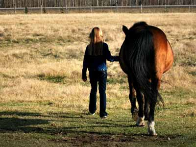 A young girl and a horse walking away