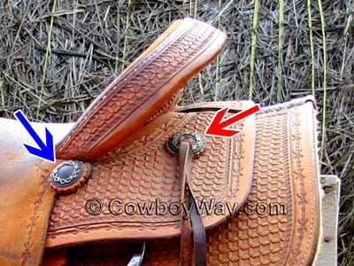 A plain concho and a slotted concho on a ranch saddle