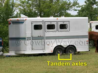 Tandem axles on a horse trailer