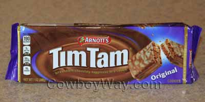 An unopened package of Tim Tam cookies