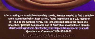 The back of a package of Tim Tam cookies explaining how they were named after a race horse