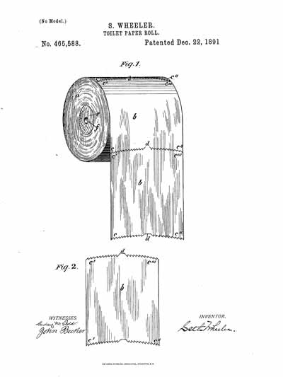 Patent for toilet paper on a roll