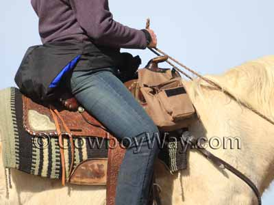 A trail riding saddle with pommel saddle bags