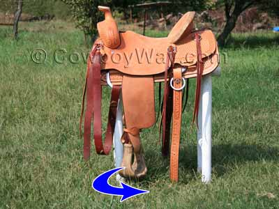 Turn the stirrups toward the back of the saddle