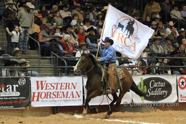 The WRCA flag being presented at the Finals in Amarillo, TX