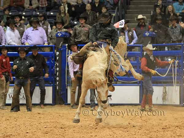 Kyle McCord in the ranch bronc riding