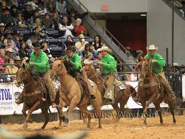 A ranch rodeo team pursues their steers