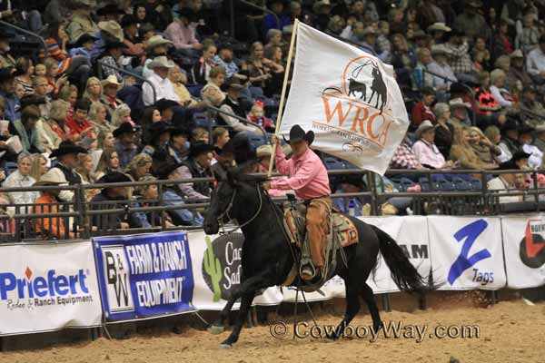 The WRCA flag being presented at the Working Ranch Cowboys Association Finals