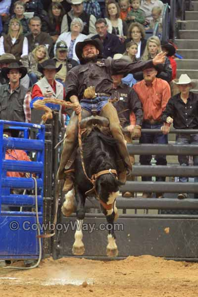 Reece Clark, Swenson Land and Cattle, in the ranch bronc riding
